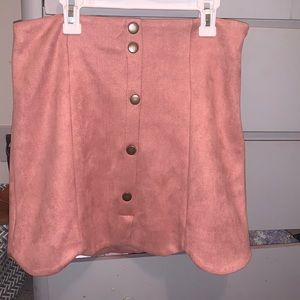 pink soft skirt with buttons real cute